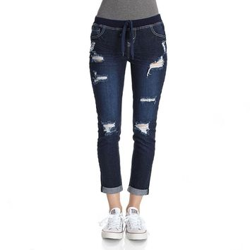 Wallflower Denim Jogger Capris, Size: