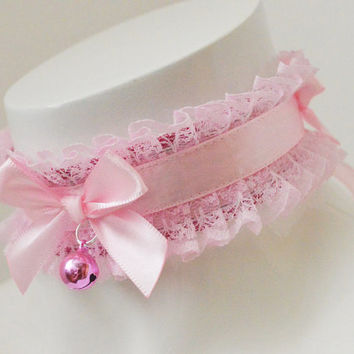 Kitten play collar - Cutey cuddles - ddlg little princess cute kawaii pastel choker - baby pink petplay gear with bell