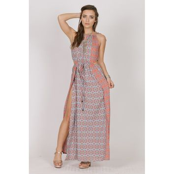 Multicolor Drawstring Neck Waist Tie Cut Out Maxi Dress