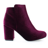 Thirsty06M Burgundy Velvet By Bamboo, Oriental Floral Printed Block Heel Ankle Booties, Women Shoes