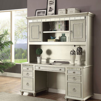 Furniture of America CM-DK907DB-DH Anne silver finish wood executive computer desk and hutch