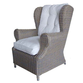 Outdoor Kubu Wing Chair With White Outdoor Cushion Padma's Plantation Arm Chairs