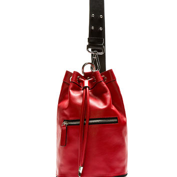 Costume National Red Leather Cross-body Mini Bucket Backpack