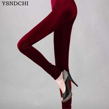 2017 New Arrived Women Leggings Solid Fashion Mid Knitted Leggins Cotton Spring Pencil Women's Velvet Legging Autumn Plus Size