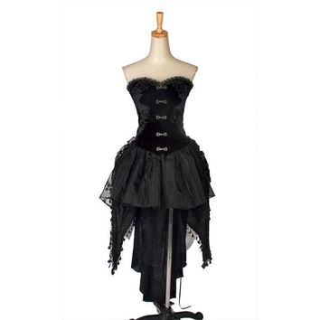 Punk Gothic Lolita Dress Corset with tail Women Palace Club Prom Maxi Kera EMO Q160