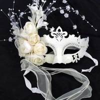 Elegant White Wedding Flower Venetian Laser Cut Masquerade Ball Party Mask