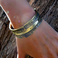 statement bronze cuff bracelet with the surface of special fruit shell