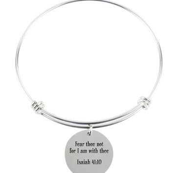 Pink Box Solid Stainless Steel Multi Wrap Bangle - Isaiah 41:10