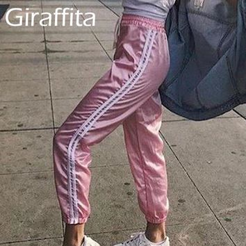 Casual Striped Harajuku Pants Women's Elastic Waist And Ankle Trousers Waist Part Banadge Lace-up Design Fitness Sportswear