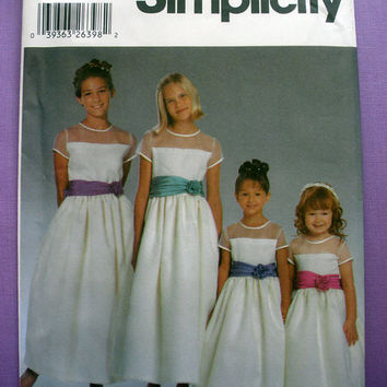 Girls' Special Occasion Dress, Flower Girl Dress, Formal Girls Size 7, 8, 10, 12, 14 Simplicity 5700 Sewing Pattern Uncut