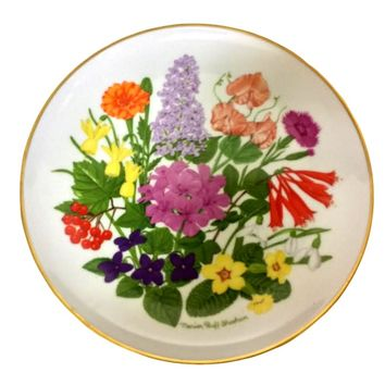 VINTAGE 1980 MARION RUFF SHEEHAN FLOWERS of MOUNT VERNON PORCELAIN PLATE