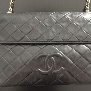 Authentic Vintage Chanel Lambskin Flap Chain Tassel Bag