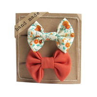 Floral Orange  - Hair bows - Set of Two Bobby Pins