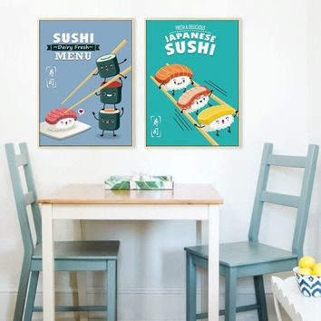 Cute Funny Japanese Sushi Cartoon Canvas Painting Print Picture Poster Wall Art Restaurant Kids Room Bedroom Home Decor Mural