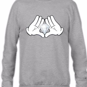 mickey hands with diamond - Crewneck Sweatshirt