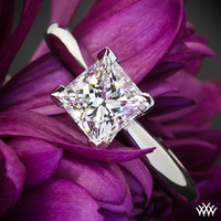 14k White Gold 4 Prong Solitaire Engagement Ring for Princess