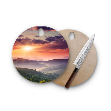 Dreamy Sunset Sky Love Round Cutting Board Trendy Unique Home Decor Cheese Board