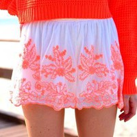 Orange Embroidered High Waisted Shorts