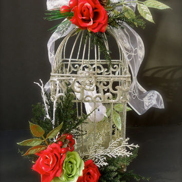 Christmas Floral Accented Birdcage with White Dove
