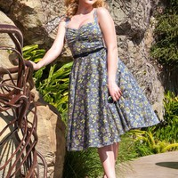 Nancy Dress in Mary Blair Butterflies Print in Gray