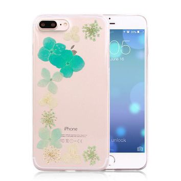 mini limited handmade pressed flower case real dried flowers phone case cover for iphone 7 7plus iphone se 5s 6 6 plus gift box 263  number 1