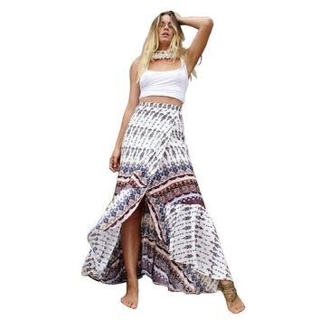 Boho Skirt Floral Printed Maxi Wrap (6 Colors)