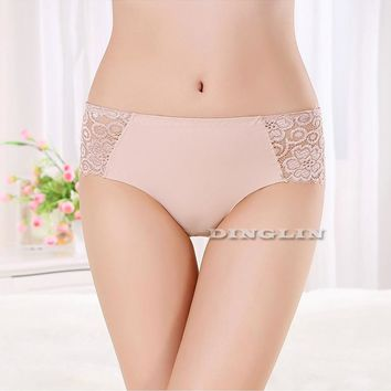 GZDL New Ultra-thin Women Seamless Traceless Sexy Underwear Panties Briefs Transparent Flower Embroidered Patterned NY227