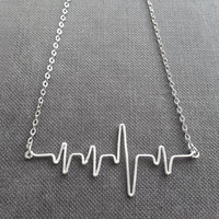 Heart Beat Necklace - Ekg Necklace, Heartbeat Necklace, Ecg Jewelry - 'When I saw you..'