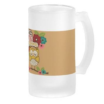 owl love you forever 16 oz frosted glass beer mug