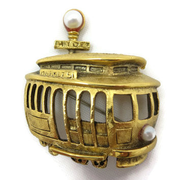 San Francisco Trolley Brooch - Tortolani Costume Jewelry, Hyde St, Market St