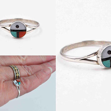 Vintage Zuni Sterling Silver Sunface Ring, Inlay, Glass, Enamel, Multi Color, Sun Face Ring, Sun Father, Size 6 1/4, Lovely! #c412