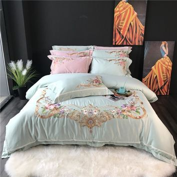 Oriental Embroidery Egyptian Cotton Bedding set king queen Bedsheet linen set Luxury Duvet cover  juego de cama linge de lit