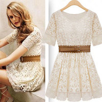 Round Neck Embroidered Lace Dress With Belt