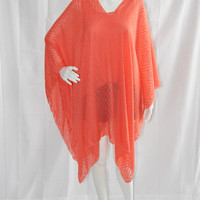 Sheer Poncho Cover Up/ Chiffon Boho Tunic/ Summer Kaftan/ Chevron Boho top/ Plus Size/ Coral Cover for Beach or Pool