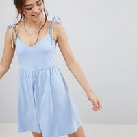 ASOS Mini Smock Dress with Tie Straps at asos.com