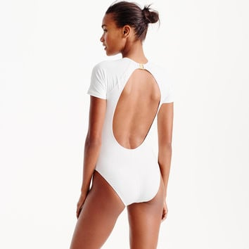 Open-back short-sleeve one-piece swimsuit