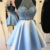 Blue Beads Halter Homecoming Dress