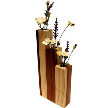 Modern Poplar Wood Vase Natural Finish Wooden Home Decor Candle Holder Modern Clear Finish