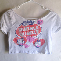 Kawaii Pop Kei Dubble Bubble T Shirt Crop Top - Adult Extra Small/Child Large - Kawaii Clothing - Upcycled Recycled Repurposed -