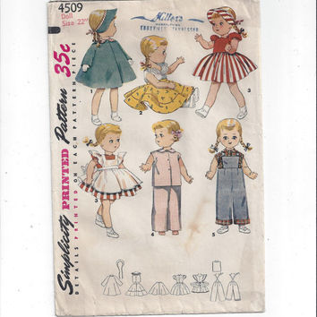 Simplicity 4509 Pattern for 22 Inch Saucy Walker Doll Clothes Wardrobe, 1950s, UNCUT & FACTORY FOLDED, Vintage Pattern, Home Sewing Pattern