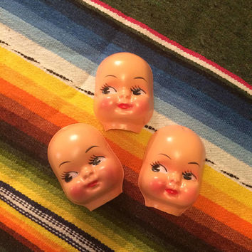 Darling Vintage Doll face faces vintage supplies doll parts crafts toy thin plastic doll heads LOT of 3