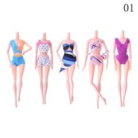 Swimming Pool beach 5Pcs/set Mixed Color Doll Bikini Swimsuits Swimming Wear Beach Bathing Clothing For Barbie Doll Accessories ToysSwimming Pool beach KO_14_1