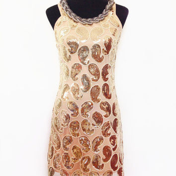 2016 fashion sexy sequins dress halter metal chain party mini vintage style sleeveless tank sequined dress
