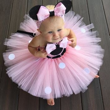 Lovely Girls Pink Cartoon Tutu Dress Baby 2Layer Crochet Tulle Tutus with Dots Ribbon Bow and Headband Kids Birthday Party Dress