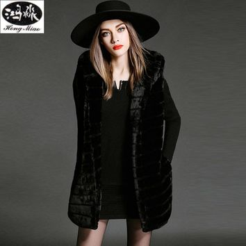 2017 Winter New Fashion Women Black Vest Thick Soft Warm Fur Vest For Women Female Long Section Sleeveless Vest Coat