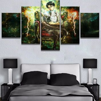 Cool Attack on Titan New 5 Piece HD Print  Anime Poster Painting Canvas Wall Art Picture Home Decoration Living Room Canvas Painting AT_90_11