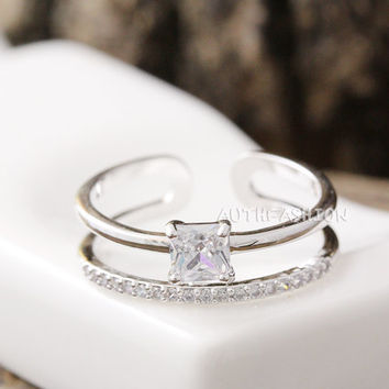 Adjustable Crystal Double Ring Simple Unique Ring Jewelry Silver Plated Gift Idea byr31