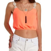 Crochet-Strap Neon Crop Top by Charlotte Russe
