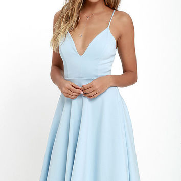 Sugared Petals Light Blue Midi Dress