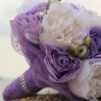 Bouquet White peonies/ purple roses bridal wedding flowers- romantic